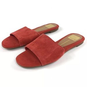 NEW 7 Dolce Vita Red Suede Slide Sandal